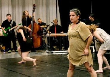 """Death Echo"", PC:Stephanie Leathers, Dancers: Christine Kiernan Fisher and Heather vonReichbauer, Musicians: the bo-stevens"